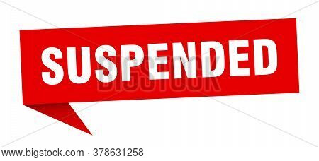 Suspended Banner. Suspended Red Speech Bubble Sign