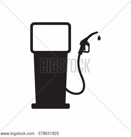 Icon Gas Station Isolated On White Background. Gasoline Pump With Oil Dripping. Vector Illustration.