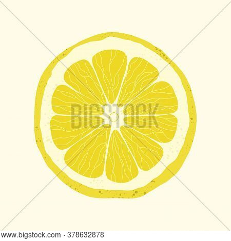 Vector Isolated Lemon Slice On Light Yellow Background. An Exotic Citrus Fruit In A Cut. Stock Illus