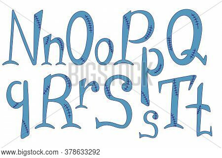 Stitched Alphabet For Halloween. Hand-drawn Lettering In Frankenstein Style. N, O, P, Q, R, S, T Let