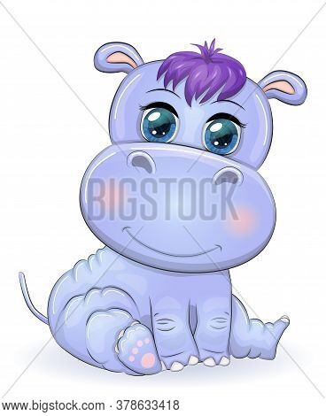 Cute Hippo Cartoon With Beautiful Eyes Hand-drawn Illustration. Print T-shirts, Baby Clothes Fashion