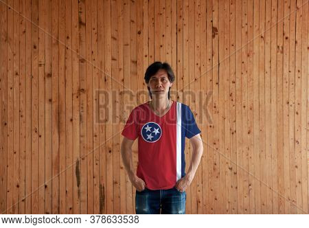 Man Wearing Tennessee Flag Color Shirt The State Of Usa And Standing With Two Hands In Pant Pockets
