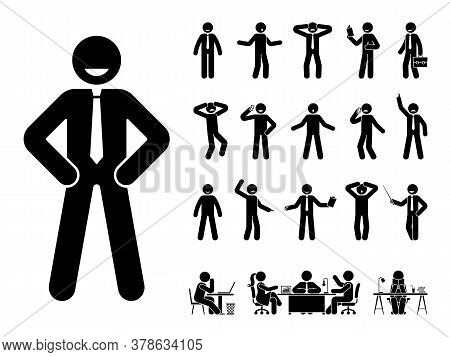 Stick Figure Office Man Standing In Different Poses Design Vector Icon Set. Happy, Sad, Surprised, A