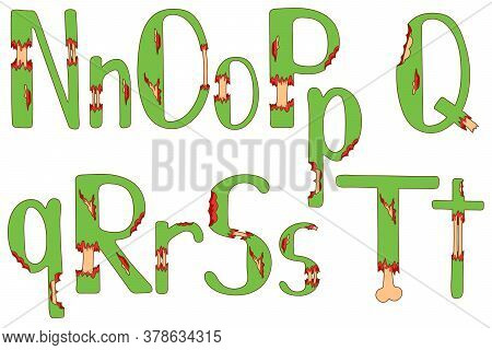 Zombie Alphabet For Halloween. Torn Wound And Bones Hand-drawn Lettering. N, O, P, Q, R, S, T Letter