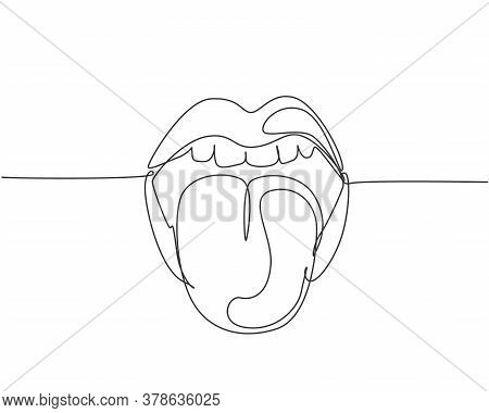 One Continuous Line Drawing Of Old Retro Classic Iconic Logo Lips And Tongue From 80s Era. Vintage I