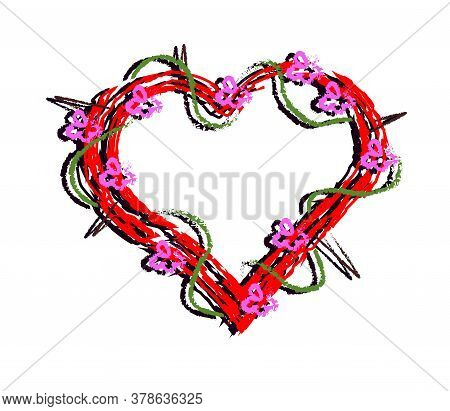 Red Heart With Thorns And Flowers On A White Background. Vector Illustration.
