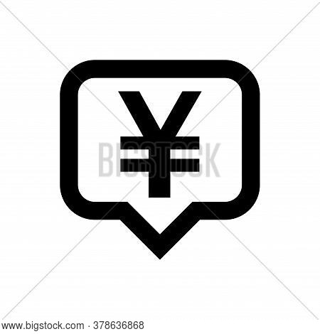 Yen Currency Symbol In Speech Bubble Square Isolated On White, Yen Money For App Symbol
