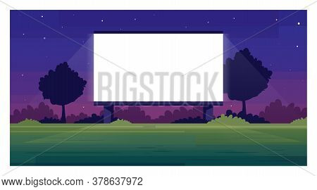 Open Air Cinema Screen Semi Flat Vector Illustration. Empty Place For Watching Film Outside. Public