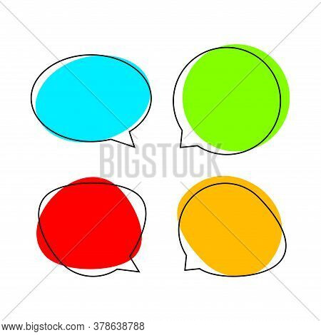 Speech Bubble For Message Talk And Copy Space Text, Colorful Speech Bubble Isolated On White, Templa