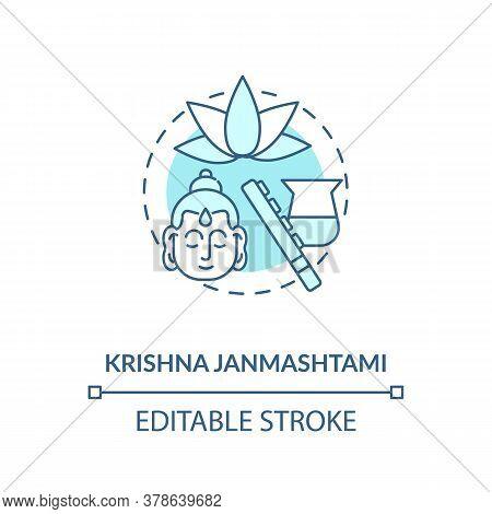 Krishna Janmashtami Concept Icon. National Indian Festival, Krishna Worship Day Idea Thin Line Illus