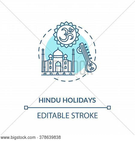 Hindu Holidays Concept Icon. Indian Religion, Hinduism Idea Thin Line Illustration. Traditions Of In