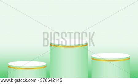 Pedestal Cylinder Circle 3 Steps For Cosmetics Showcase, 3d Podium Circle Stage Green Pastel Soft Co