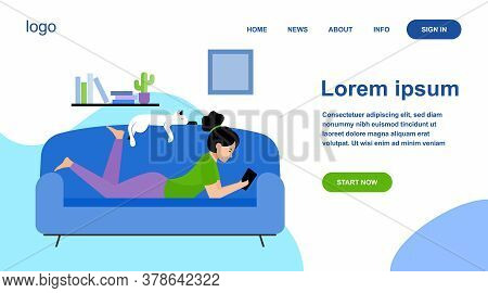 Girl And Cat Relaxing On Sofa Flat Vector Illustration. Cartoon Woman Laying In Comfort And Reading.