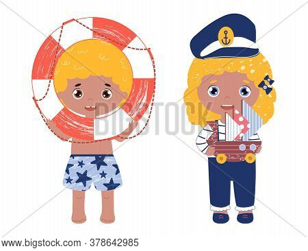 Vividly Colored Vector Set With Children Play With Nautical Toys. Smiling Girl In A Captain Hat With