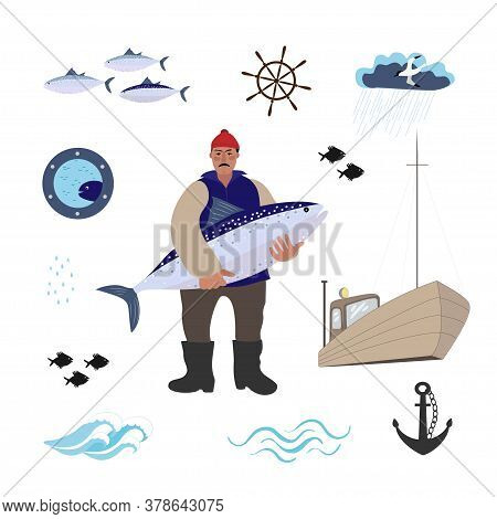 Sea Set With Sailor, Fishes, Boat, Anchor And Seagall. The Sailor Stands With A Large Fish In His Ha