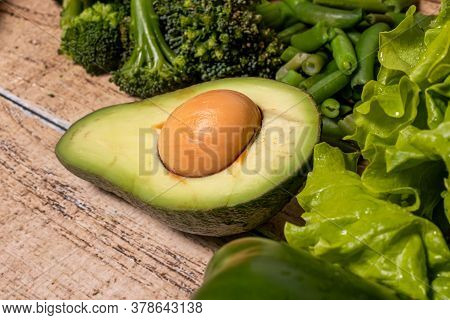Ripe Avocado. Products For The Keto Diet, Gluten-free Diet And Proper Nutrition For Weight Loss.