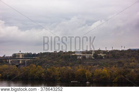 Dnieper River And View Of The Industrial City Of Zaporozhye