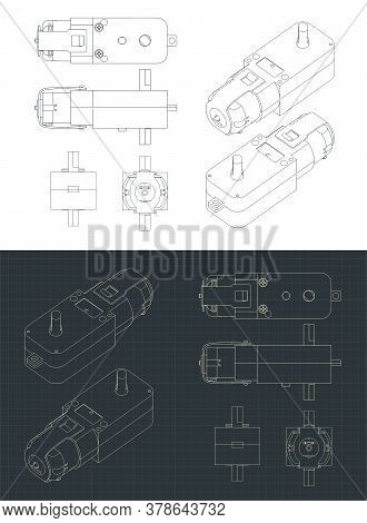 Geared Motor Dc Drawings