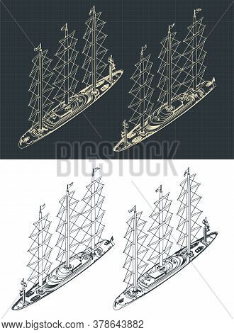 Large Modern Sailing Ship Isometric Drawings With The Sails Down