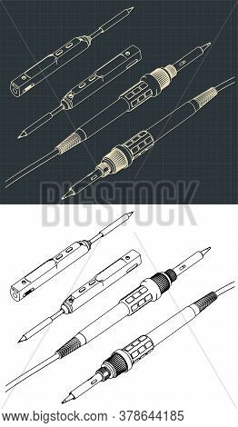 Stylized Vector Illustration Of Two Types Of Soldering Irons