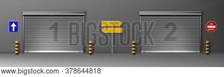Gate With Metal Rolling Shutter In Logistic Center Building. Vector Realistic Illustration Of Cargo