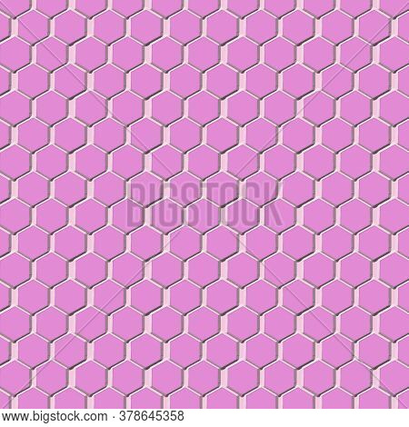 Pink Honeycomb Pattern Background In 12x12 Hexagon Backdrops For Graphic Elements.