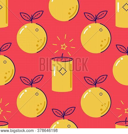 Holiday, New Years Holiday Seamless Vector Pattern. Oranges And Sparklers On A Red Background. Festi