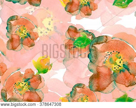 Watercolor Roses, Peony And Leaves Seamless Pattern. Summer Blossom Background. Botanical Floral Ill