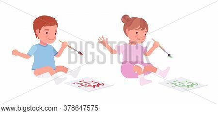 Toddler Child, Little Boy And Girl Drawing A Picture With Paints. Cute Sweet Happy Healthy Baby, Chi