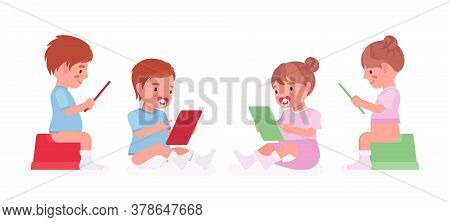 Toddler Child, Little Boy And Girl On A Potty Sitting With A Tablet. Cute Sweet Happy Healthy Baby,