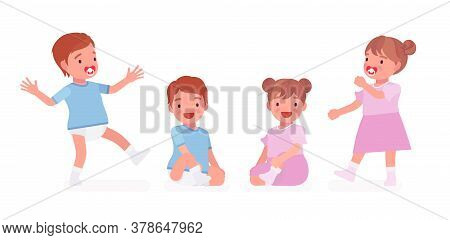 Toddler Child, Little Boy And Girl Expressing Different Good Emotions. Cute Sweet Happy Healthy Baby