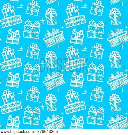 White Gift Boxes With Different Patterns, Ribbons And Bows On A Blue Background With Stars. Vector S