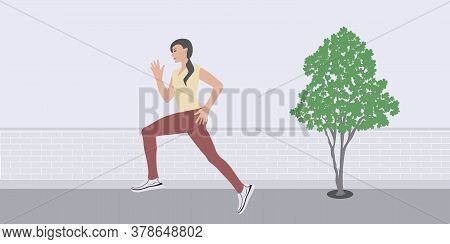 Woman - Morning Jog - Brick Wall, Tree - Vector. Healthy Lifestyle. Car Free Day