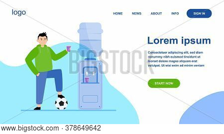 Football Player Drinking Water At Cooler. Male Athlete, Soccer, Sportsman Flat Vector Illustration.