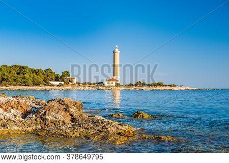 Lighthouse Of Veli Rat On The Island Of Dugi Otok, Croatia, Beautiful Adriatic Seascape