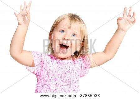Adorable Little Girl Laugting Ang Singing Expressively Isolated Over White