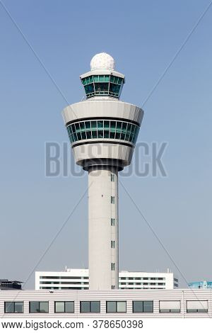 Air Traffic Control Tower At Amsterdam Airport Schiphol, Netherlands