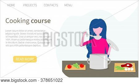 Cooking Courses. Web Banner Template. Colored Vector Illustration In Flat Style For Advertisement Of