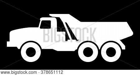 Silhouette Of A Dump Truck On A Black Background.