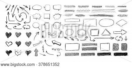 Vector Set Of Hand Drawn Elements Isolated On White Background, Black Scratched Hatch Drawings, Circ