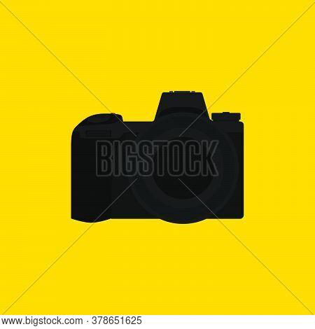Black Dslr Camera Vector Illustration. Perfect Template For Photography Design