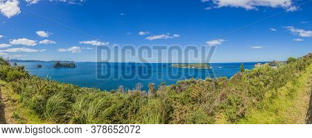 Panoramic View Over Cliffy Shore Of Te Whanganui-a-hei Marine Reserve On Northern Island In New Zeal