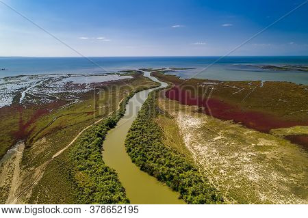 Aerial View Of Delta Of The River Axios, In Northern Greece
