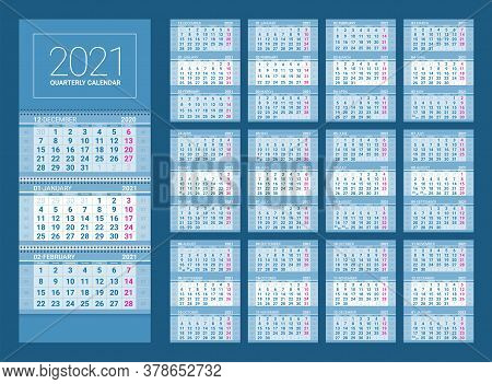 Quarterly Wall Calendar Layout For 2021 Year. English Template With Basic Grid On Blue Background. W