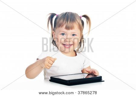 3 Years Old Excited Girl With Tablet Isolated Over White
