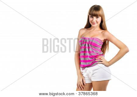 Beautiful Young Girl Posing In Studio, Isolated On White
