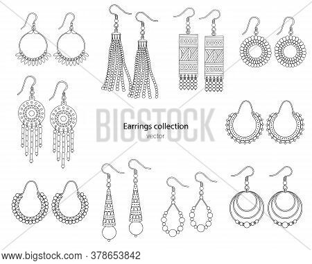 Collection Of Handmade Earrings In Ethnic Style. Vector Illustration Isolated On A White Background.