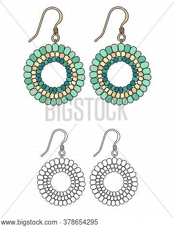 Handmade Jewelry In Ethnic Style: Round Earrings With Green Beads. Isolated Vector Illustrations.