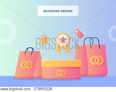 Branding Design Concept Shopping Bag Boxes With Brand Logo Background Of Certified Icon Label Flat S