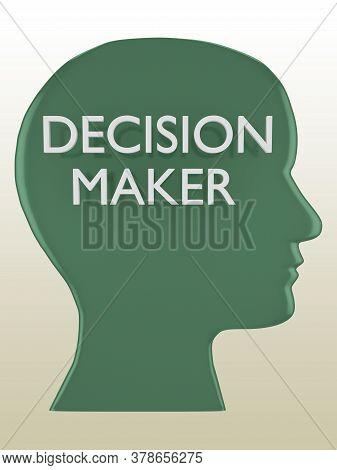 3d Illustration Of Head Silhouette Containing The Text Decision Maker, Isolated Over Pale Brown Grad